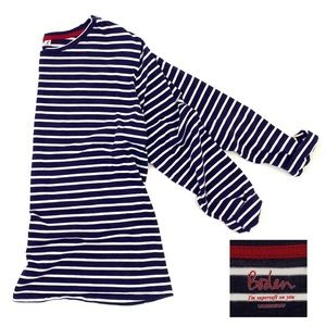 Boden/Striped Long Sleeve Top Navy/Ivory